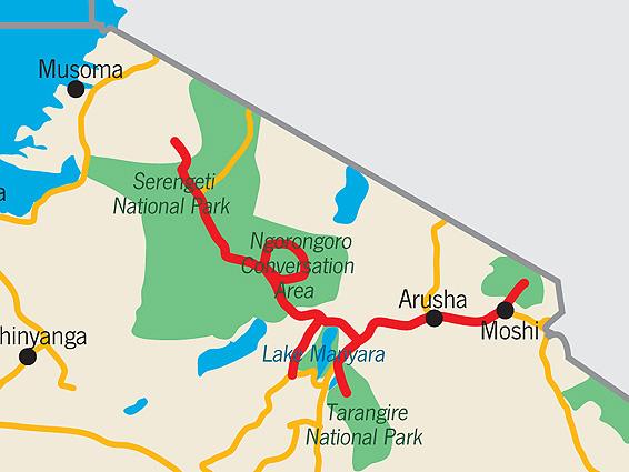 Nord Tansania Safari Landkarte