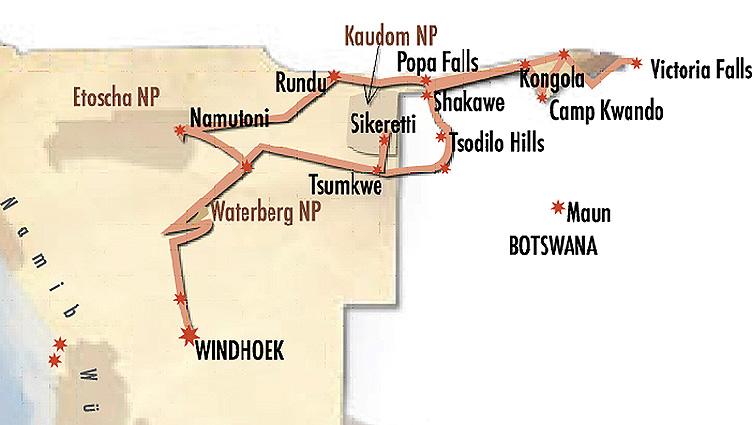 Namibia Buschmannland Lodge Karte