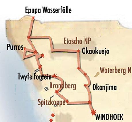 Namibia Kaokoveld Landkarte