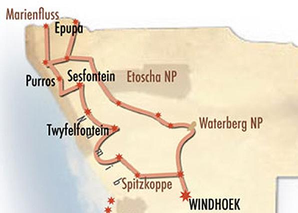 Namibia Kaokoveld Spezial Landkarte