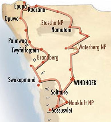 Namibia Safari Around Karte