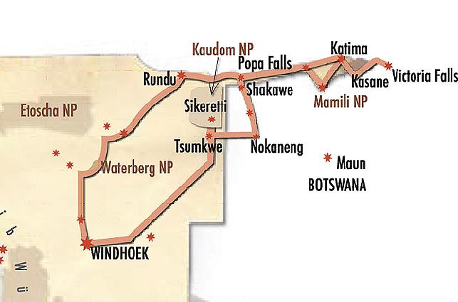 Namibia Buschmannland Zelt Karte