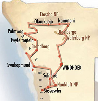 Namibia Safari Landkarte