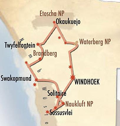 Namibia Familiensafari Karte