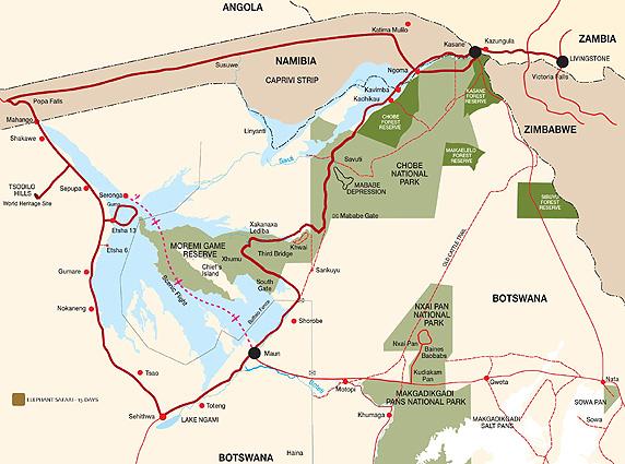 Botswana Safari Karte