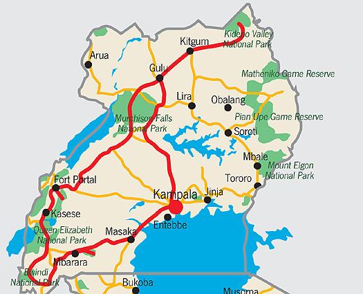 Uganda Ursprünglich Karte