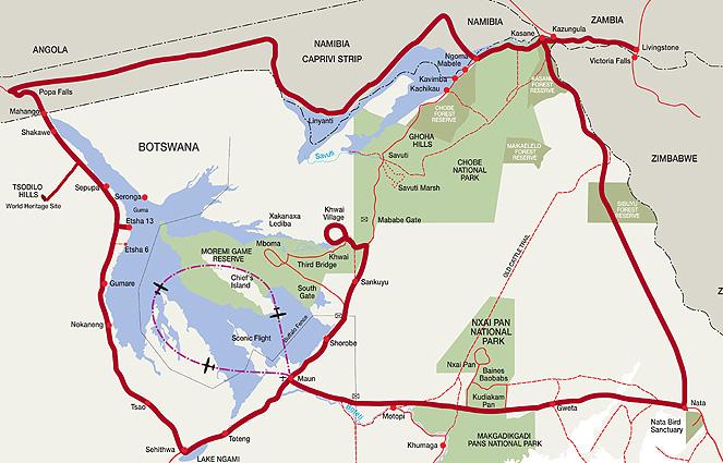 Botswana Lodge Karte