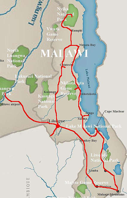 Malawi-Sambia Safari Karte