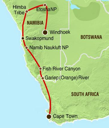 Namibia Höhepunkte Karte