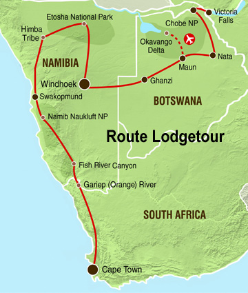 Namibia Botswana Safari 1 Karte