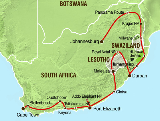 Südafrika Erlebnisrundreise Karte