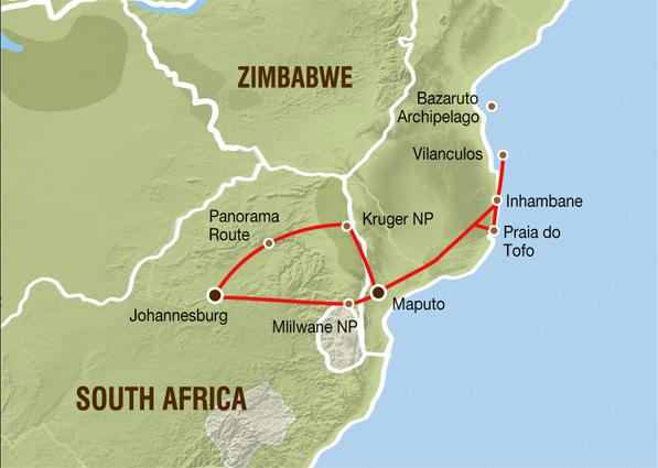 Südafrila- Mosamik Karte