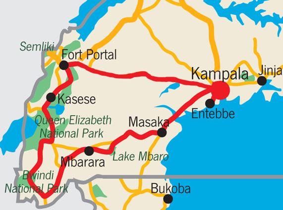 Uganda Safari Karte